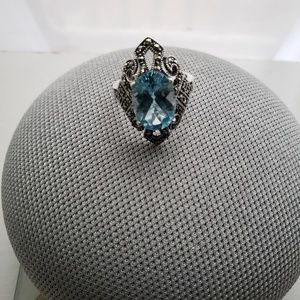 Jewelry - Vintage Sterling Silver Blue Topaz Marcasite Ring